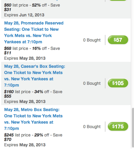 mets yankees groupon
