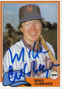 MetsPolice Mike Cubbage Signed Card 1