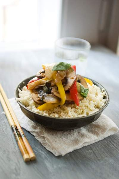 Peppered Cauliflower Rice Topped With A Vegetable Stir Fry For #MeatlessMonday