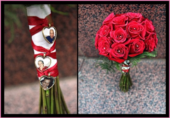 Red wedding bouquet with memories