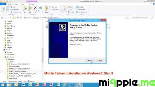 Mobile Partner Installation on Windows 8: Step 3