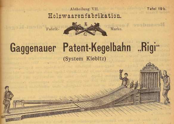 """Namensgeber für die Gaggenauer Patent-Kegelbahn war sicherlich das Schweizer Bergmassiv """"Rigi"""", da man den Berg hinauf kegelte."""