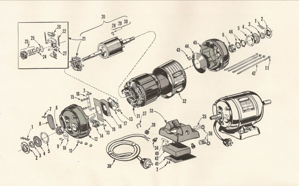 Craftsman 115.6962 1/2-HP Capacitor Start Electric Motor - Diagram. Source: