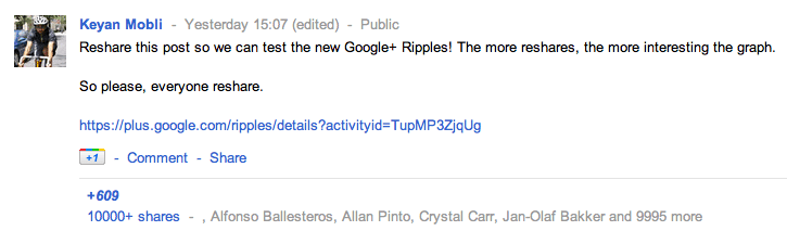 Reshare this post so we can test the new Google+ Ripples!