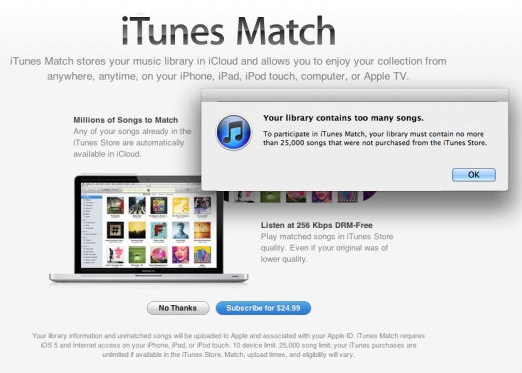 Apple iTunes Match Fail