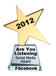 2012 Are You LIstening Social Media Award Facebook
