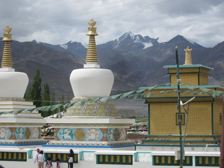Stupas on the grounds of the venue