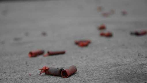 Firecracker casings scattered