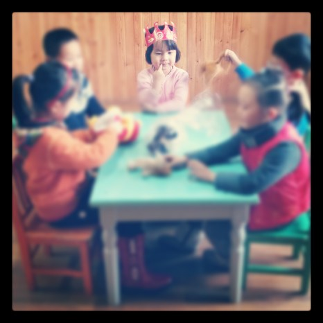 "Table work with five-year-olds for my play ""Happy Birthday"" in Zibo, Shandong, China."