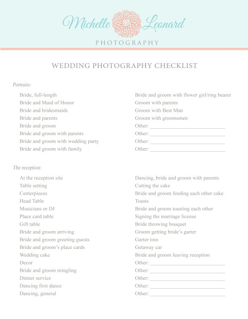 Medium Of Wedding Photography Checklist
