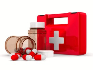 First aid kit on white background. Isolated 3D image