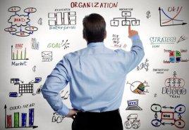 Businessman and business organisation scheme.