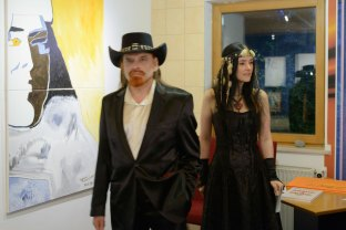 Michel Montecrossa and Mirakali at Michel Montecrossa's New Art Exhibition in the Filmaur Multimedia House, Germany