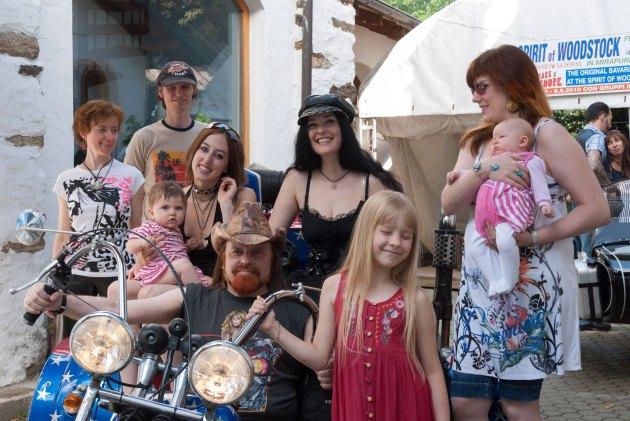 Michel Montecrossa, children and his band The Chosen Few