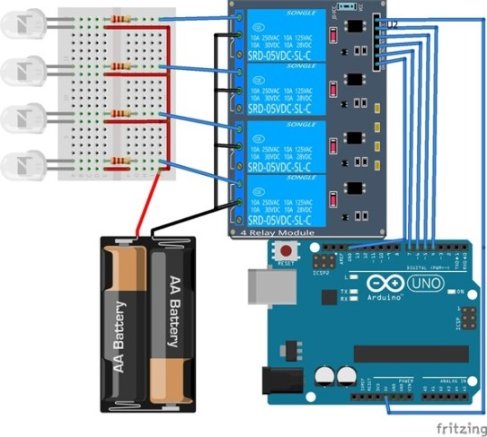 Relay module interfacing with arduino code and circuit diagam