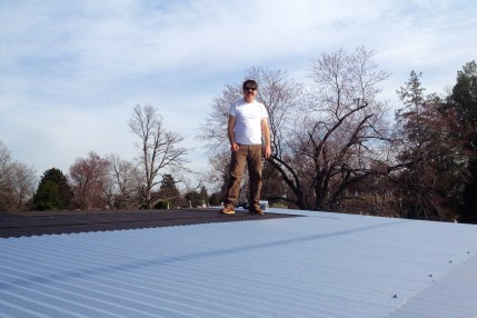 Day 5- Tony finishing then galvanized metal roof in one day!