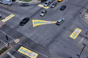 Street graphics in the Plaza