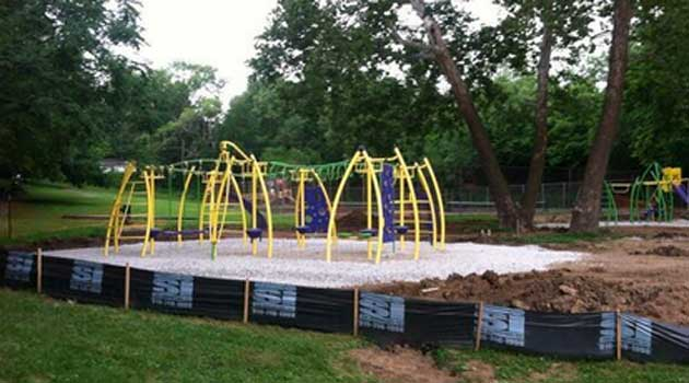 The Park Department tweeted this photo of the new Roanoke Park playground in progress this morning
