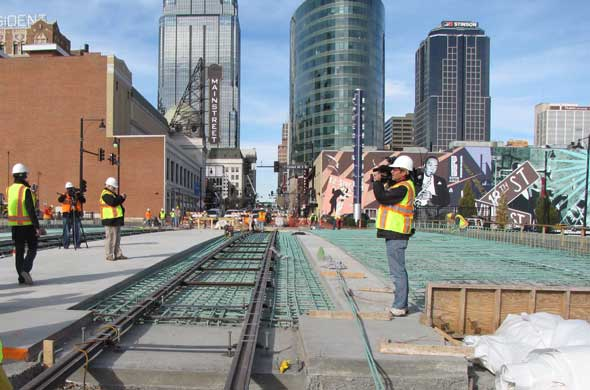 File photo. Construction in preparation for the downtown streetcar route.