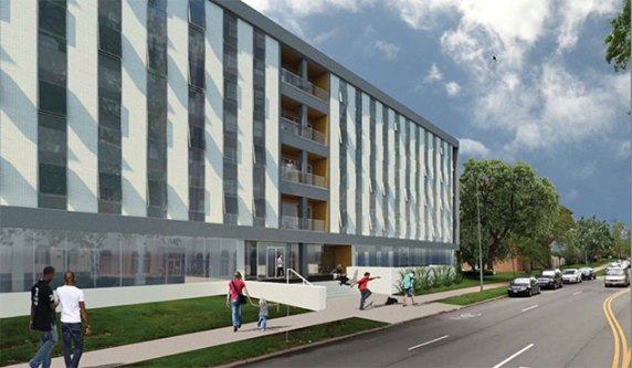 Rendering of the office building at 301 E. Armour that Mac Properties hopes to redevelop.