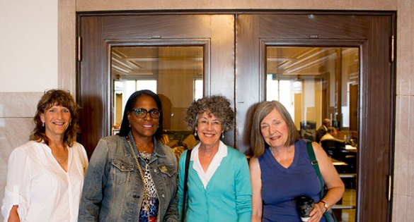 Alice Stine, Lynda McClelland, Susan Kysela and Diane Kapps were at city hall to encourage council support for the Volker downzoning effort.
