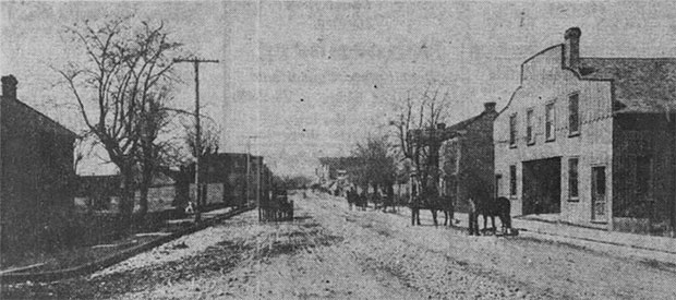 An 1880 photo of the Westport livery, courtesy the Kansas City Star, Dec. 13, 1953.