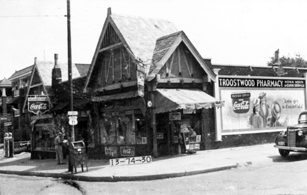 The Troostwood Pharmacy served the surrounding apartments and residences in the 1940s.