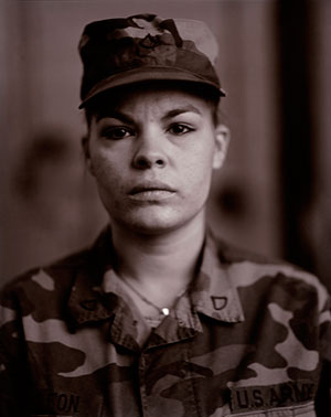 Judith Joy Ross, American (b. 1946). P.F.C. Maria I. Leon, U.S. Army Reserve, On Red Alert, Gulf War, 1990. Gelatin silver print (printed 2006), 9 11/16 x 7 11/16 inches. Gift of the Hall Family Foundation, 2012.28.5.