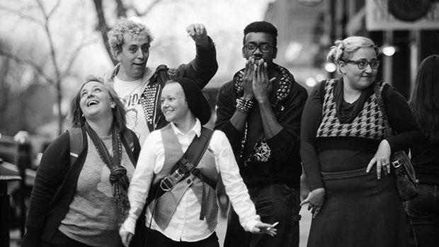 L to R: Slammaster Jen Harris, Ezhno Martin (back), Dylan Kingsley (front), Keith Bohannon, Jeanette Powers