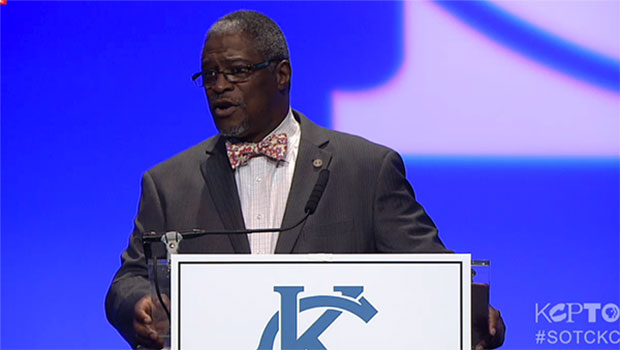 Mayor Sly James at the 2015 State of the City address.