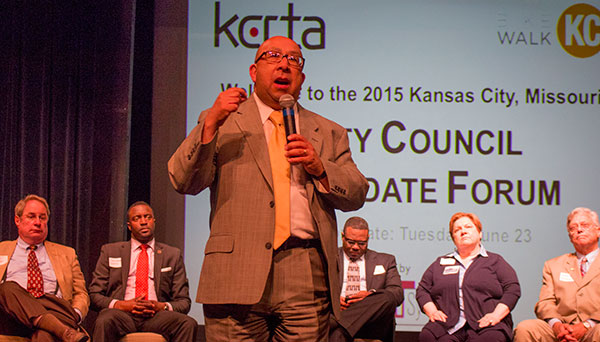 Fourth district at large candidate John Fierro at the transportation forum. Behind him (from left to right: candidates Jim Glover (4th district), Jermaine Reed (3rd district), Lee Barnes (5th district), Kathryn Shields (4th district) and Dennis Anthony (5th district).
