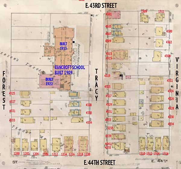 Te 1909-1950 Sanborn Fire Insuance map of the area.