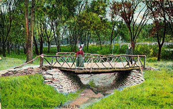 The area around 52nd and Brookside was known in 1911 for the small pedestrian bridges across the brook there, along what later became Brookside Boulevard. This postcard from 1910 shows one of these pedestrian bridges at 52nd and Brookside. Courtesy Kansas City Public Library - Missouri Valley Special Collections.