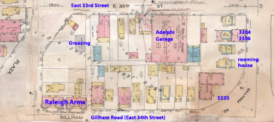 A 1909-1950 fire insurance map shows the buildings on the block.