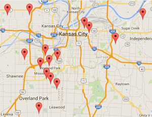 This map shows Kansas City area schools that are participating in Walk to School Day today. In Kansas City, participation is highest on the Kansas side of the state line.