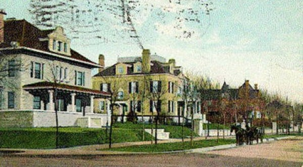 This postcard looks east along the north side of Armour Bouelvard from Main Street around the turn of the 20th century. The first home was owned by A.J. King of the King Realty Company. The second belonged to Edward Smith, a grain dealer whose wife was the sister of Simeon Armour. The majestic Kirk B. Armour home is the red brick mansion at the corner of Armour and Warwick