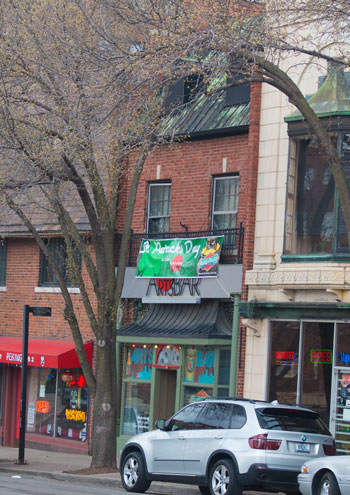 The Uptown Arts Bar has hung out its St. Patrick's Day sign, and is getting ready for parade day.