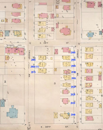 This 1896-1907 Sanborn Fire Insurance map shows a completely residential block, with large homes on good-sized lots.