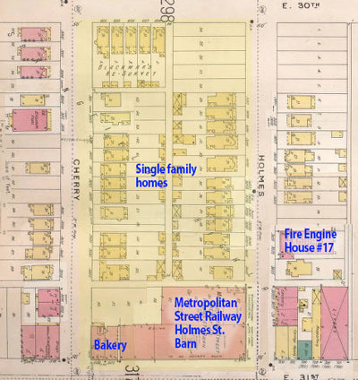 This Sanborn Fire Insurance map from 1896-1907 shows the block when it was mainly residential.