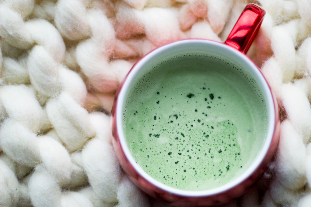 matcha green tea latte with eggnog