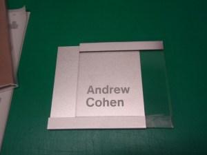 Clear acrylic with brushed aluminium sign Image