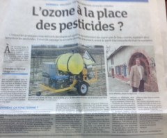 "Ozonator coverage in the local French media. The headline reads: ""Ozone in Place of Pesticides?"""
