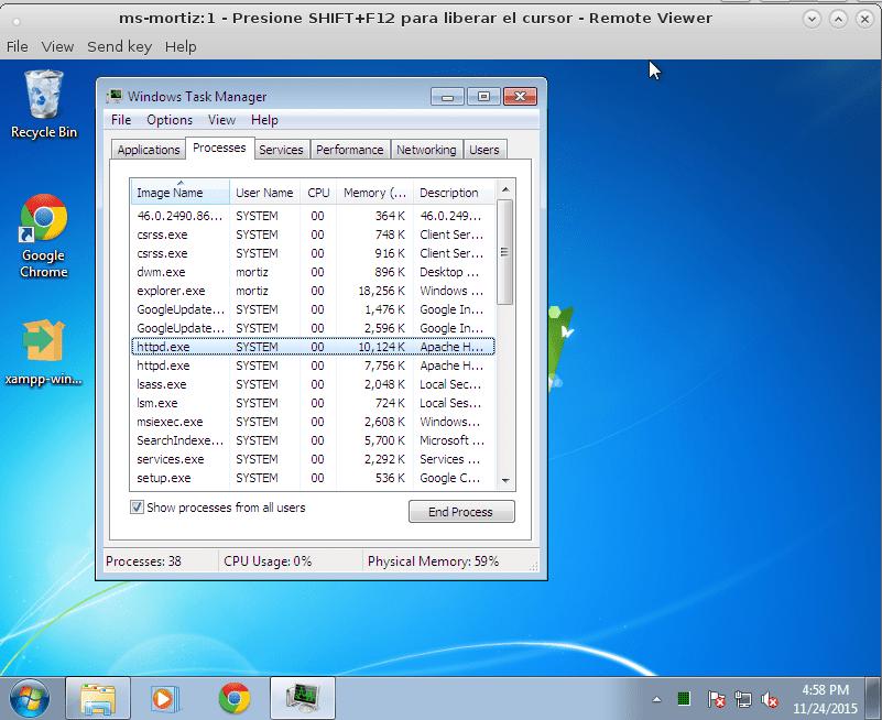 Servicio de Apache httpd en ejecución