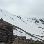 Climbing up to the Gergeti Glacier