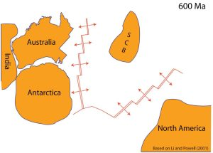 By 600 Ma rifting had separated the South China Block and North America from the Australia-Antarctica region. This rifting formed the Pacific Ocean.
