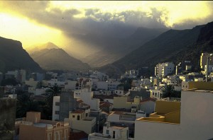 San Sebastian, Canary Islands - looking up towards the clouds, hiding the rainforest.