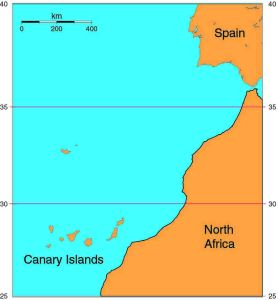 Map of the Canary Islands - just off the west coast of Africa.