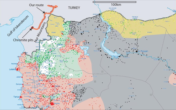Route map. Our route (red line) superimposed on a current map of who-is-where in Syria (https://upload.wikimedia.org/wikipedia/commons/8/88/Syrian_civil_war.png). Turkey is light grey, the other coloured regions are Syria. Red is Government-controlled, yellow is Kurdish, dark grey with the requisite black spots is Daesh/ISIS, and green is for other rebels.