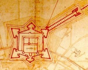 Da un'antica mappa: le fortificazioni del Castello con la Tenaglia