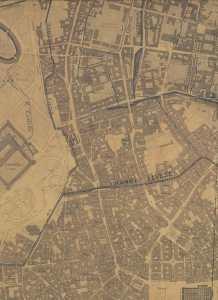 Il corso del Nirone (tratteggiato) lungo il parco Sempione, in una mappa del 1870.